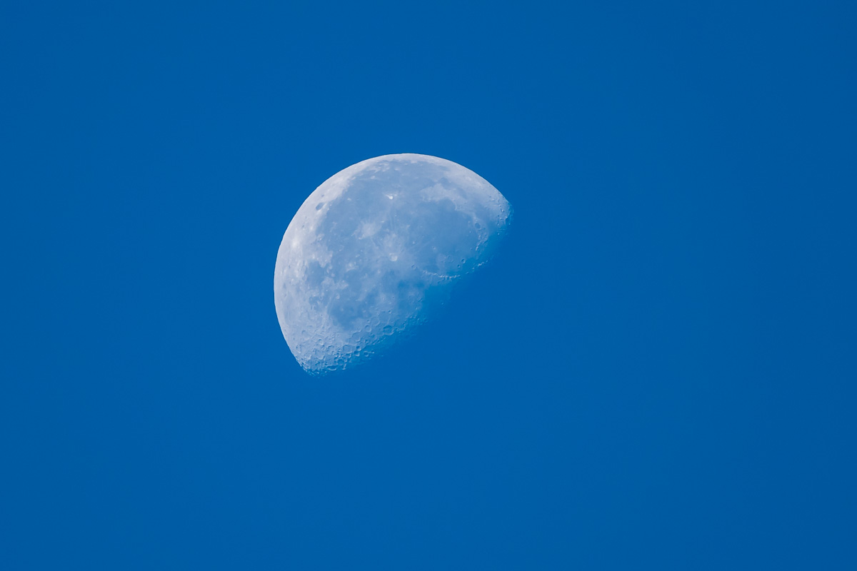 View of the moon from the BNSF maintenance of way area at Skamania Landing RD off Washington SR 14
