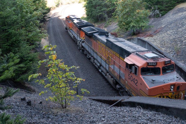 BNSF emerging from tunnel near North Bonneville Hiking Area. Columbia Gorge