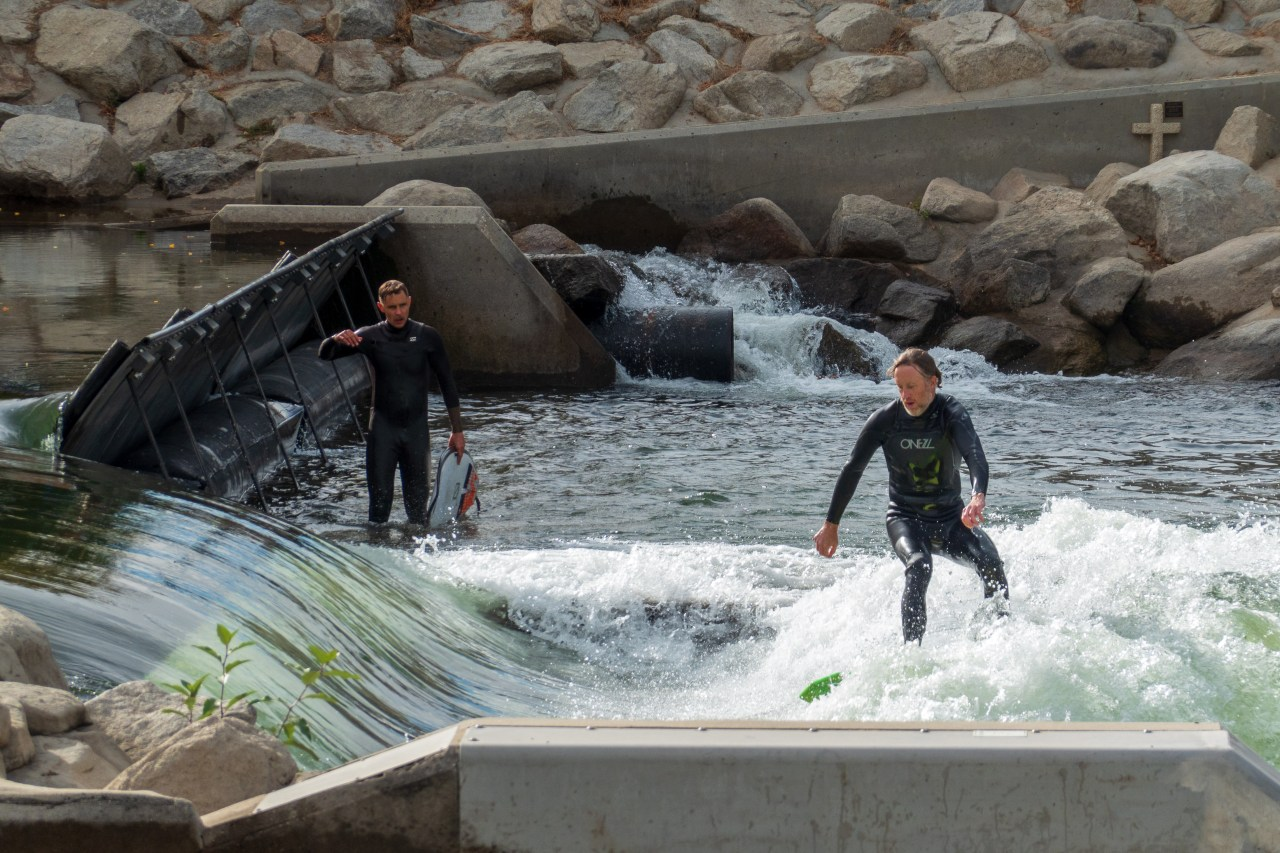 Surfers on the Boise River