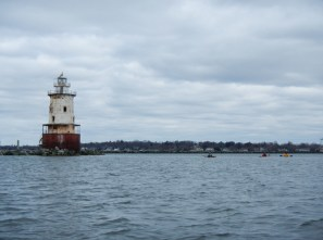 It's 1.5 NM to the lighthouse from the Greenwich Point beach
