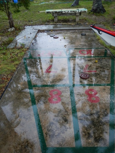 Shuffleboard in the rain: Rock Harbor