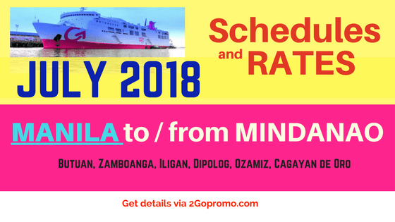 2go travel schedule and prices JULY 2018 Mindanao