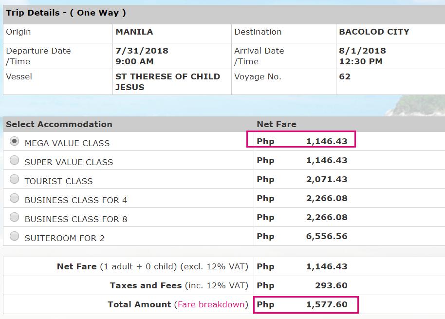 Manila to Bacolod promo 2go travel