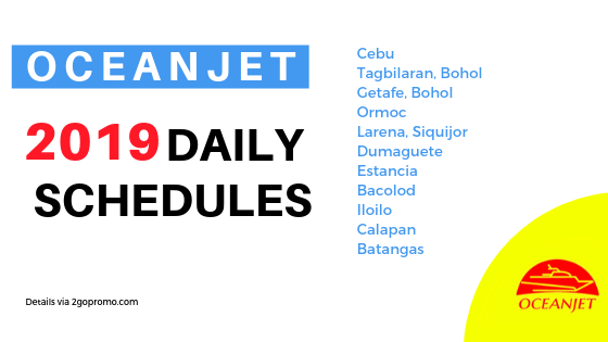 OCEANJET schedules all routes