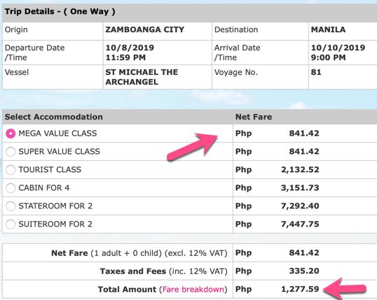2Go Promo Zamboanga to Manila