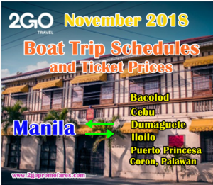 November 2018 2Go Travel Trip Schedules and Fares: Manila to Visayas and Palawan