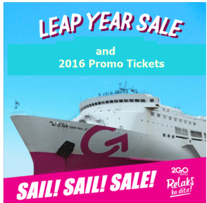 Leap Year Sale and Promo Fare 2016 Offered by 2Go Travel