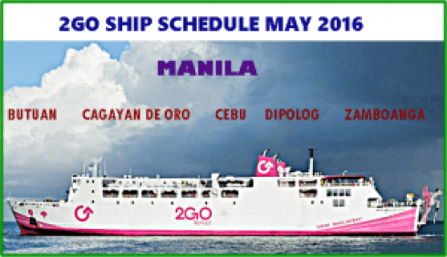 2GO MAY 2016 SHIP DEPARTURE SCHEDULE