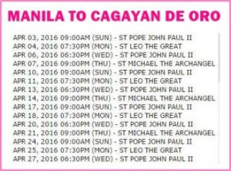 Manila to Cagayan De Oro Shipping Schedule April 2016