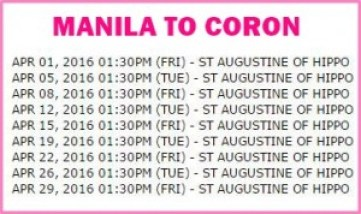 Manila to Coron Shipping Schedule.