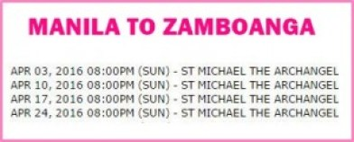 Manila to Zamboanga Shipping Schedule April 2016.