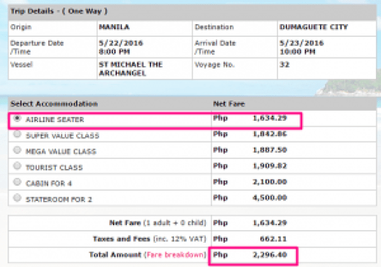 Manila to Dumaguete May 2016 Ticket Price