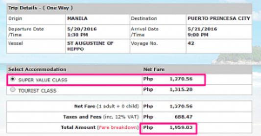 Manila to Puerto Princesa May 2016 Ticket Price