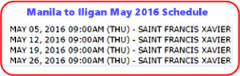 Manila_to_Iligan May 2016 Schedule
