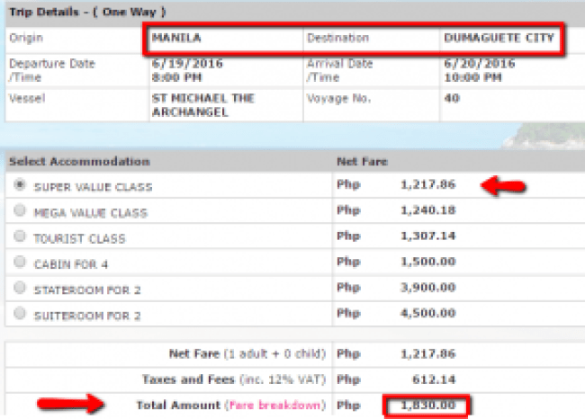Manila to Dumaguete 2Go Fare Rate