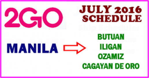 2Go July 2016 Ship Schedule
