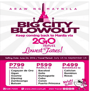 2Go Travel PROMO TICKETS on Sale for July-September 2016