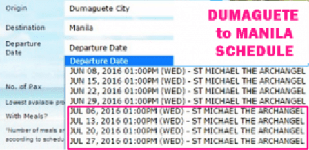 Dumaguete to Manila July 2016 Schedule