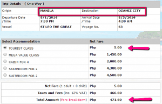 Manila to Ozamis 2Go Sale Ticket