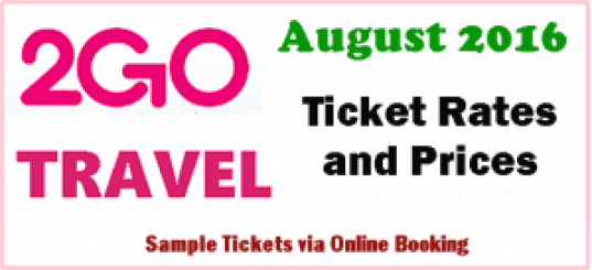 2Go Travel Superferry Ship Fares August 2016