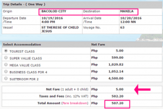 Bacolod to Manila 5 Pesos Promo Ticket