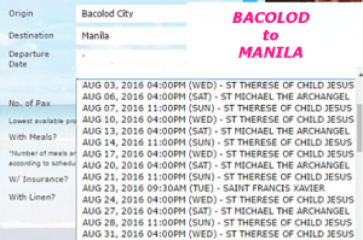 Bacolod to Manila August 2016 Ship Schedule