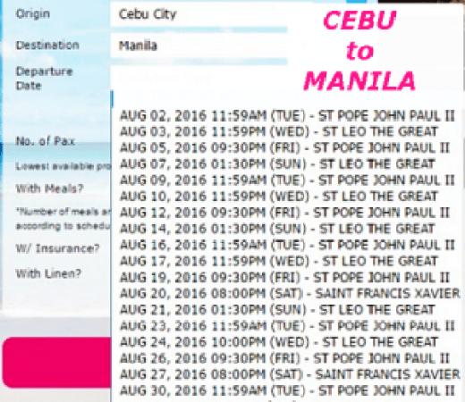 Cebu to Manila August 2016 Ship Schedule