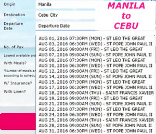 Manila to Cebu August 2016 Schedule