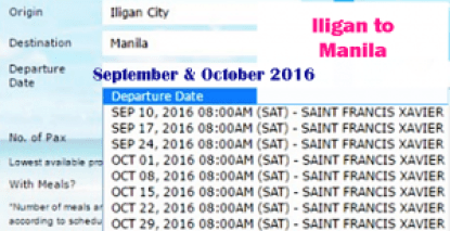 Iligan to Manila September-October 2016 Ship Schedule