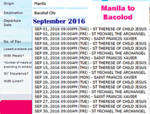 Manila to Bacolod 2Go September Schedule