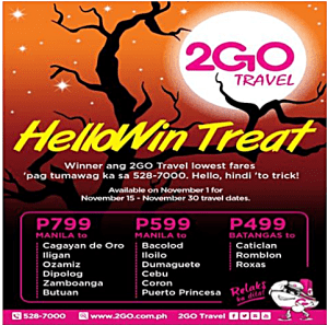 2Go Travel Superferry Halloween Promo Fare November 2016