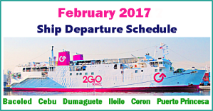 Superferry February 2017 Ship Schedules: Manila to Visayas; Palawan and Vice Versa
