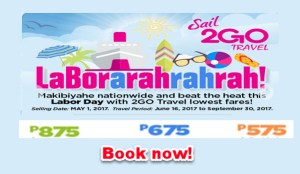 2Go Travel June, July, August, September 2017 Low Fares