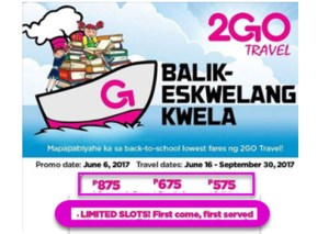 2Go Travel Balik-Skwela Promo June-September 2017