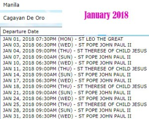 Superferry-January-2018-Departure-Schedule-Manila-to-Cagayan-De-Oro