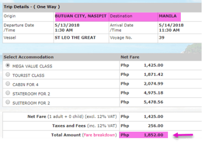 butuan-to-manila-2go-travel-ticket-price-may-2018