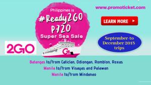 2Go Travel Super Sea Sale September- December 2018 Trips