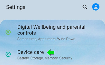 In Settings select Device care