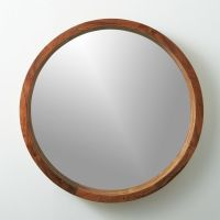 "acacia wood 24"" mirror 