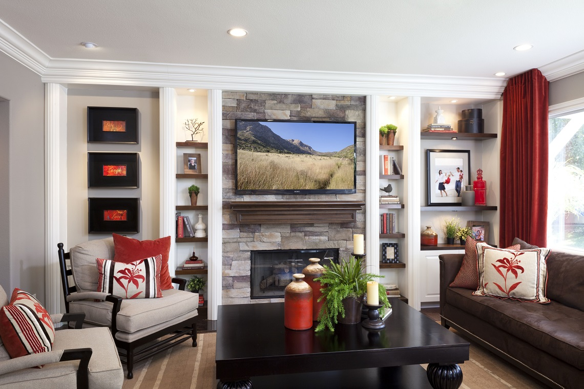 Stylish Transitional Family Room Before and After Robeson Design  San Diego Interior Designers