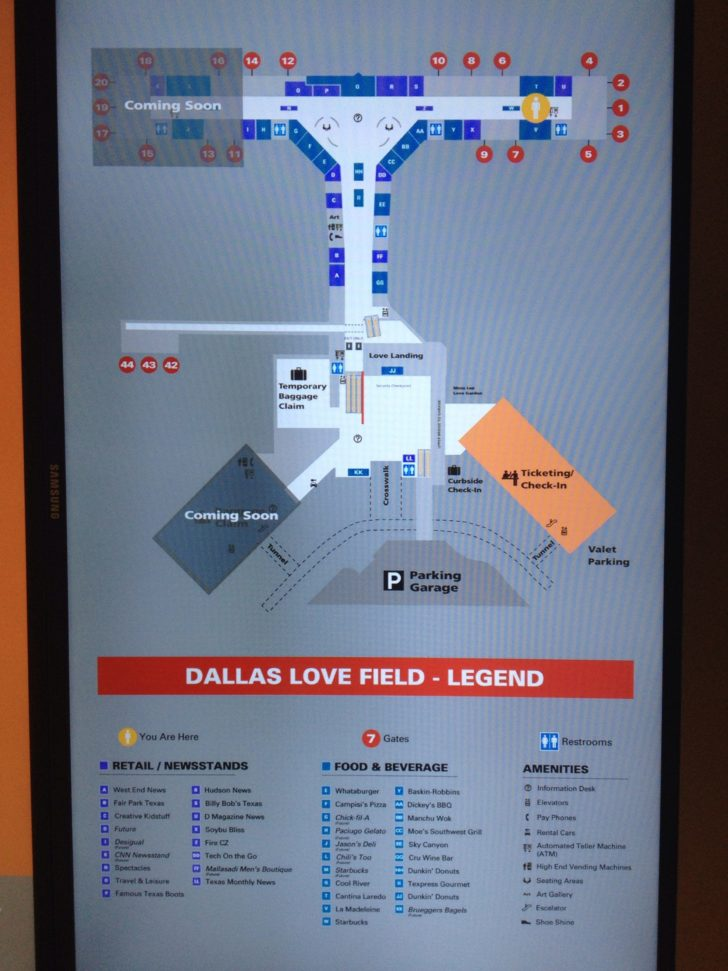 Lovefield Airport Map : lovefield, airport, Terminal, Dallas, Field, Travel, Codex