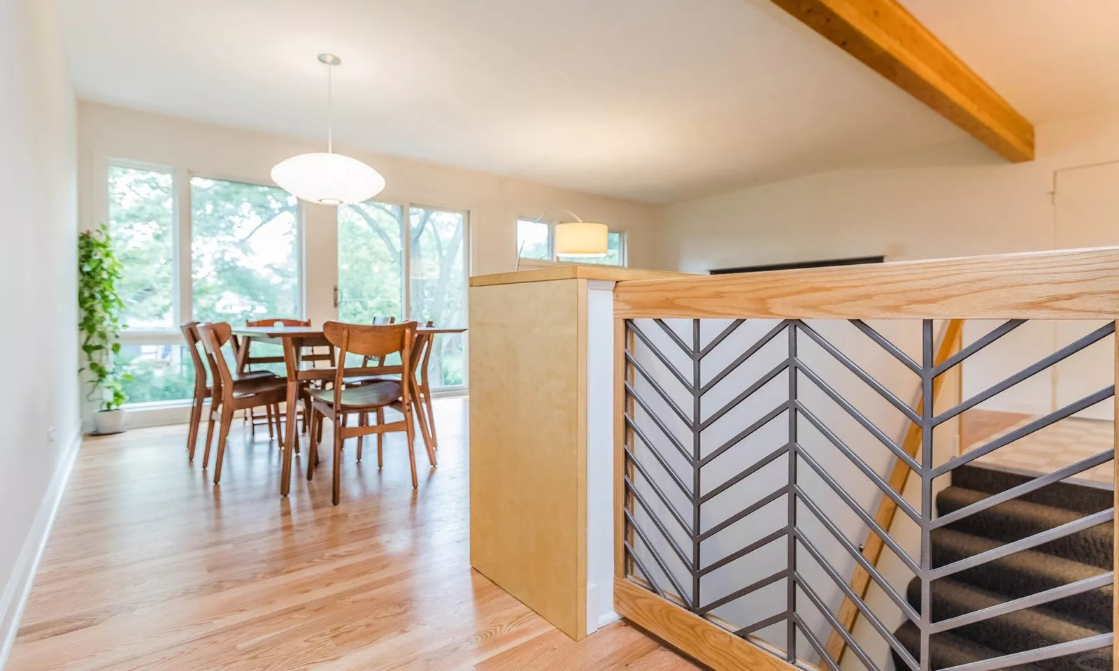 Cool Ranch Glen Ellyn Reno Expert Remodeling And Additions For | Mid Century Modern Stair Handrail | Wrought Iron | Basement | Bannister | Modern Style | Contemporary Curved Staircase