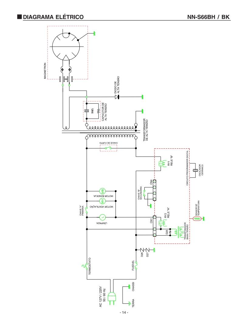 Micro-ondas Panasonic mod. NN-S66BH Queimando fusível