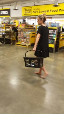 Barefoot Girl Shopping Mall