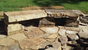 cut hardscape stone bench