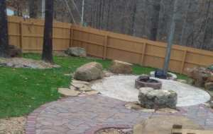 sitting area and wood burning firepit