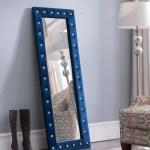 Pembroke Upholstered Standing Floor Mirror Blue 2kfurniture