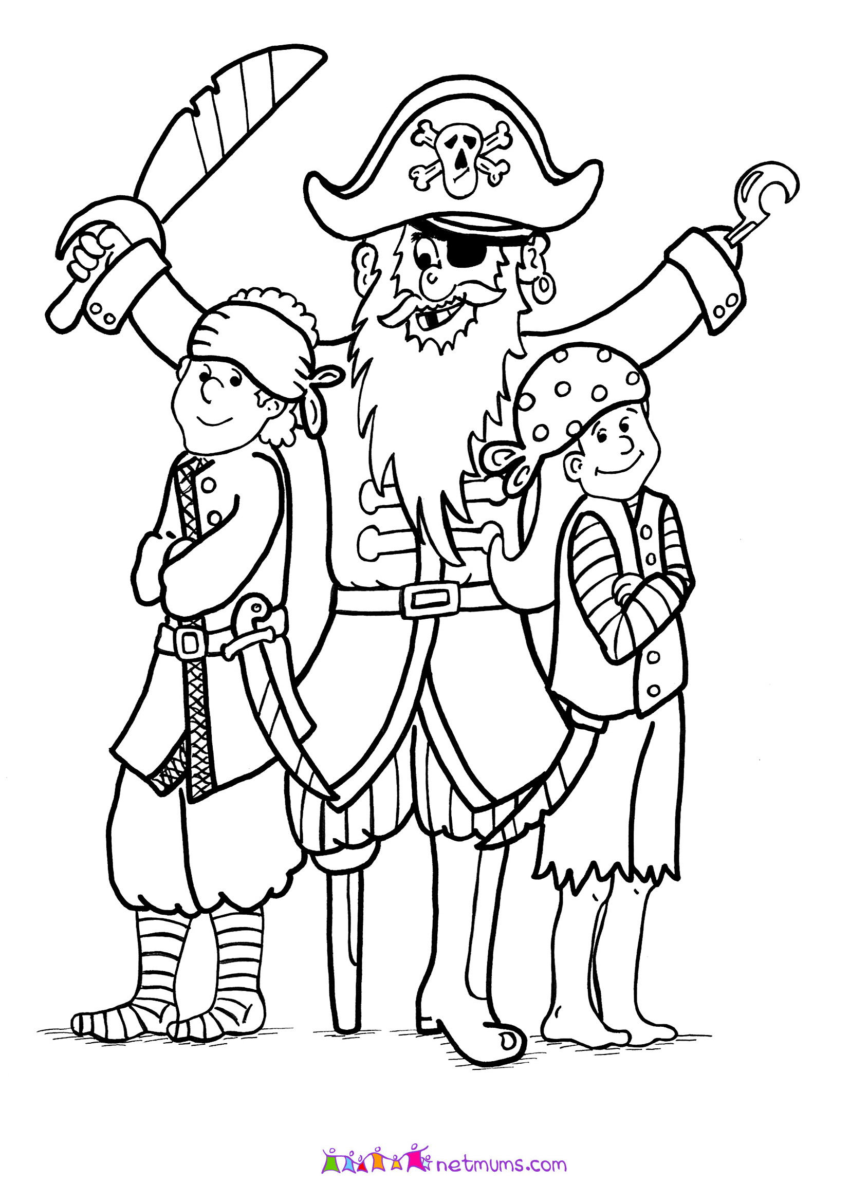 Here are some pirate theme colouring pages for you to