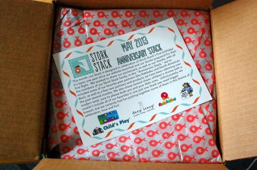 What I saw upon opening the box. It's Stork Stack's 1-year anniversary! Par-tay!