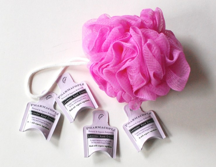 Pharmacopia Lavender Hand Cream and pouf